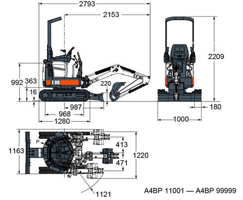 Схема мини погрузчика Bobcat E10.  Кликнуть для увеличения.